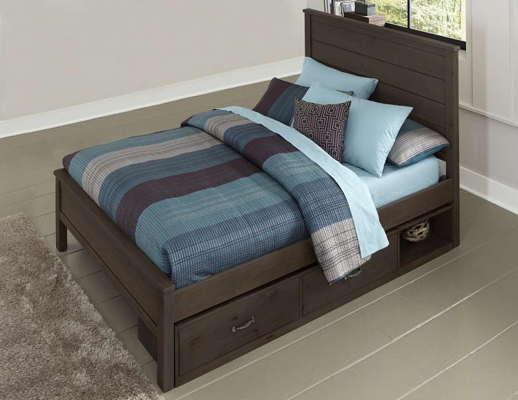 Highlands Alex Panel Bed With Storage - Espresso