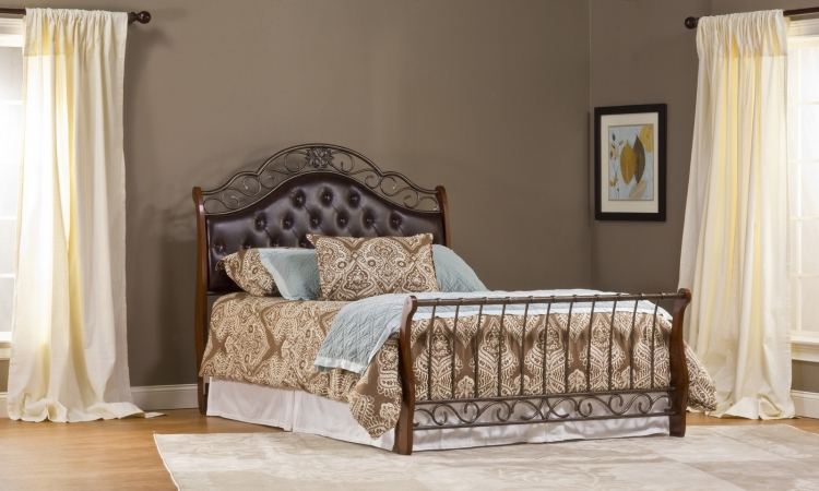 Hyde Park Bed - Antique Brown - Brown Faux Leather