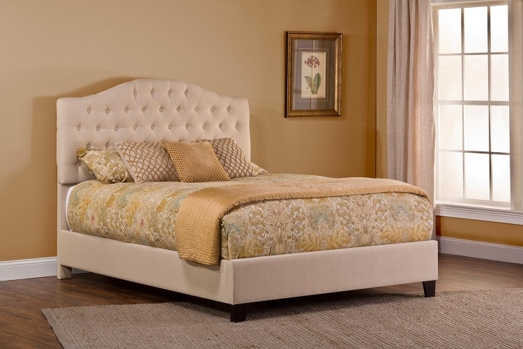 Jamie Upholstered Bed - Linen Beige