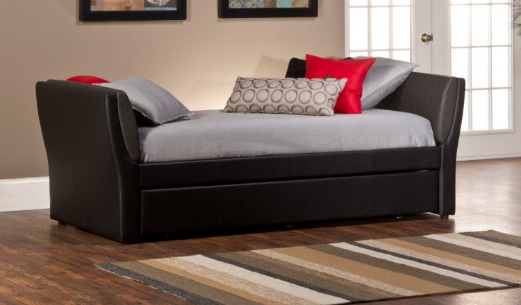 Natalie Daybed with Trundle - Black PU/Denim PU