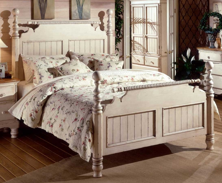 Wilshire Post Bed - Antique White