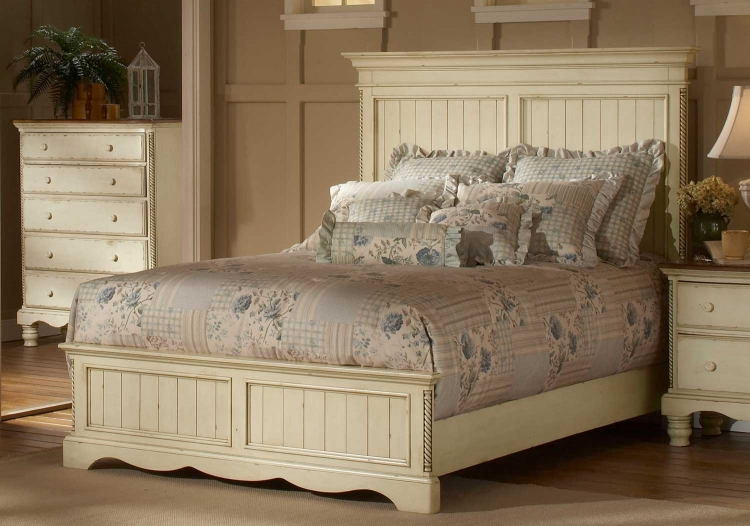 Wilshire Panel Bed - Antique White
