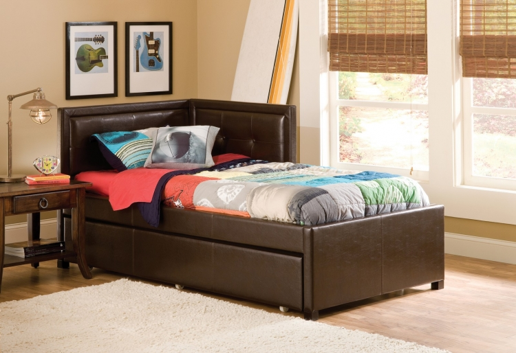 Frankfort Bed with Trundle - Brown Faux Leather