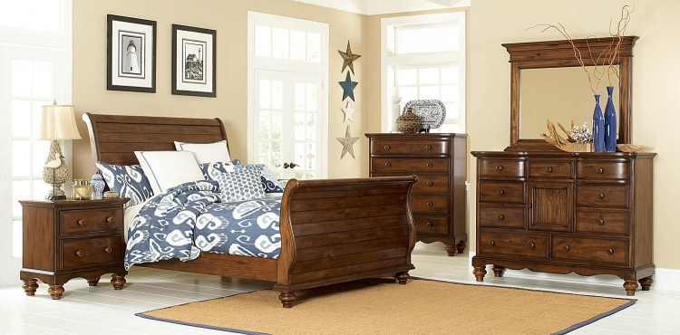 Pine Island Sleigh Bedroom Set - Dark Pine