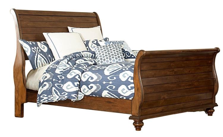 Pine Island Sleigh Bed - Dark Pine