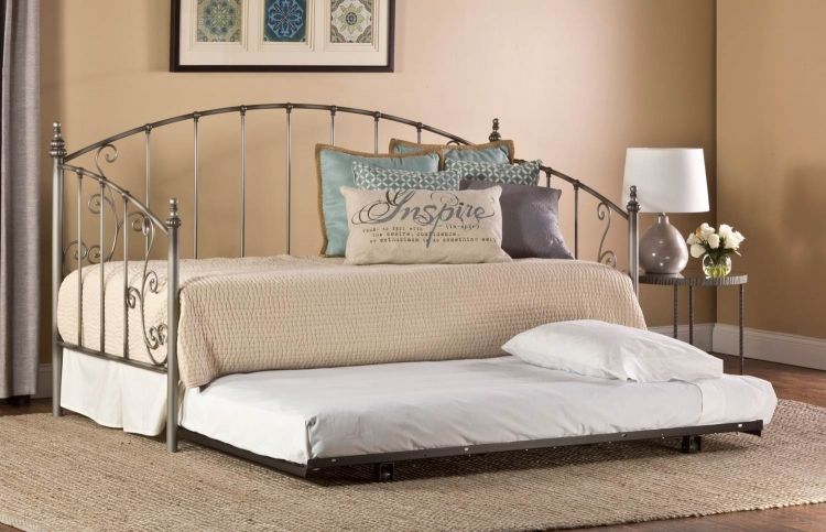 Ivy Daybed with Roll-Out Trundle - Aged Pewter