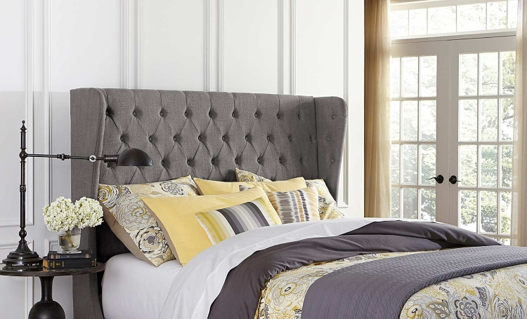 Crescent Headboard - Dark Gray Linen