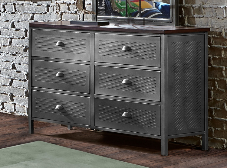 Urban Quarters Dresser - Black Steel with Antique Cherry Finish Metal