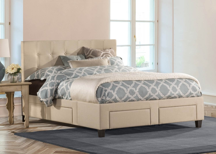 Duggan 6 Drawer Storage Bed - Linen Beige
