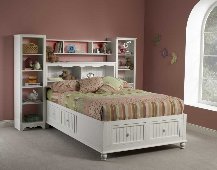 Westfield Platform Bookcase Bed with Wall Storage