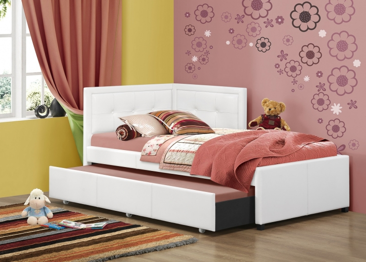 Frankfort Bed with Trundle - White Faux Leather