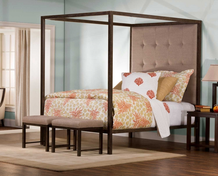 King's Way Canopy Queen Bed - Aged Steel - Oatmeal Linen