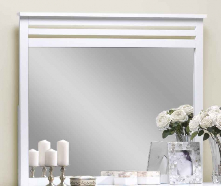 Dio Wood Mirror White Finish