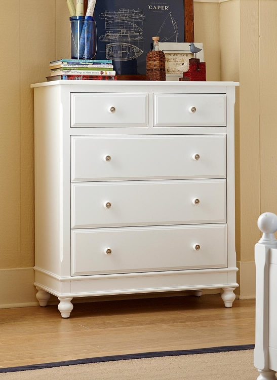 Lake House 5 Drawer Chest - White