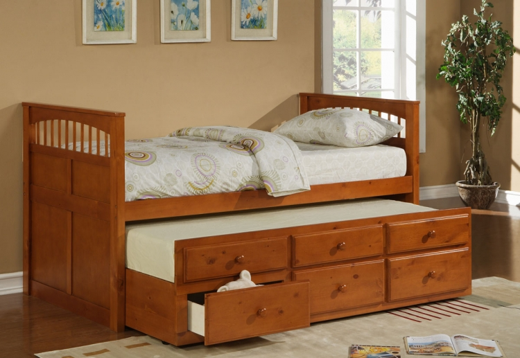 Taylor Falls Twin Captains Bed - Medium Pine