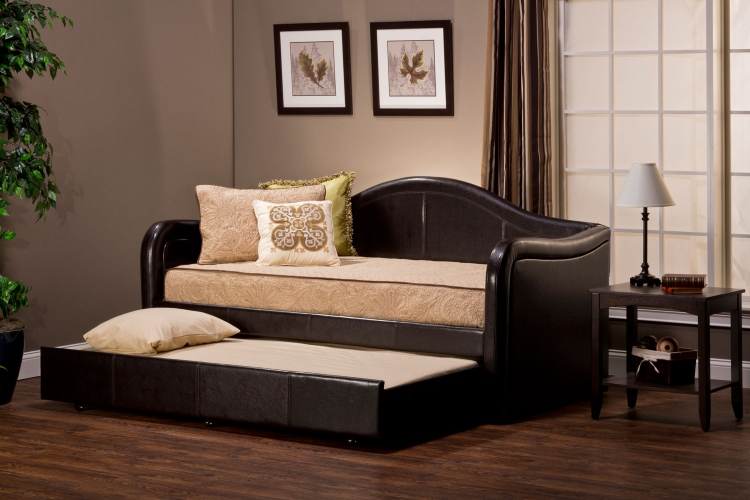 Brenton Daybed with Pull Out Trundle - Brown Vinyl