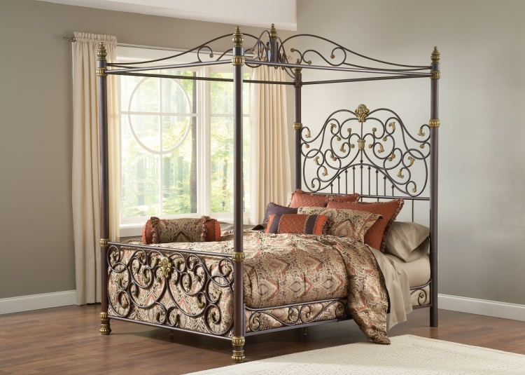 Stanton Canopy Bed - Old Brown Highlight - Hillsdale
