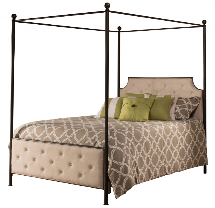 Jameson Canopy King Size Bed - Antique Bronze/Natural Linen