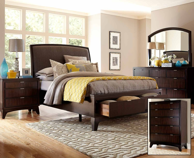 Denmark Sleigh Bedroom Set - Dark Espresso