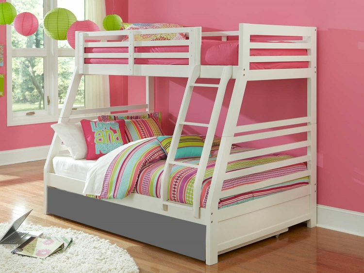 Bailey Twin/Full Bunk Bed - White