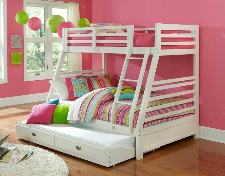 Bailey Twin/Full Bunk Bed with Trundle - White
