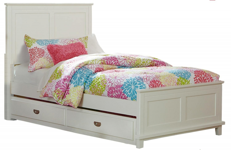 Bailey Panel Twin Bed with Trundle - White