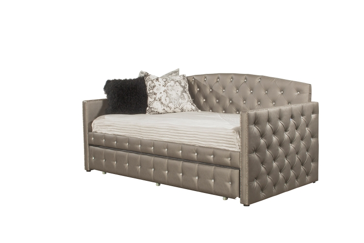 Memphis Daybed with Trundle - Diva Pewter Faux Leather