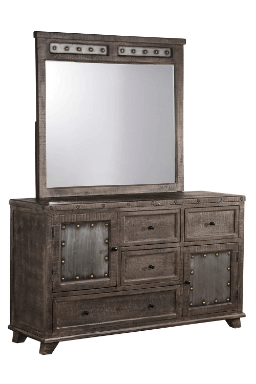 Bolt Dresser with Mirror- Dark Graywash