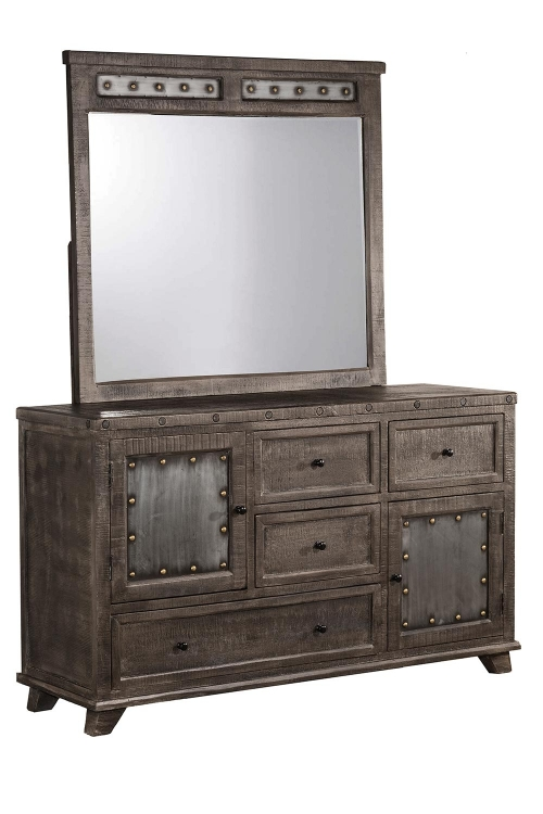 Bolt Dresser and Mirror - Light Graywash