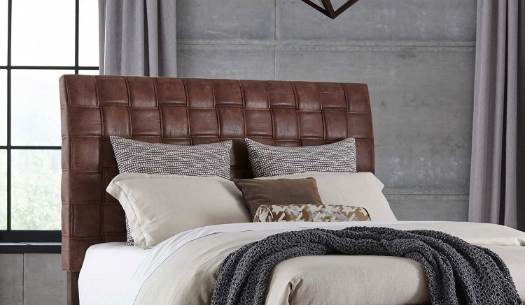 Riley Upholstered Headboard - Light Brown Leatherette