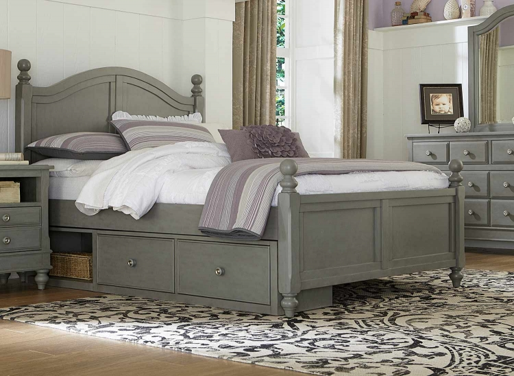 Lake House Payton Arch Bed With Storage - Stone