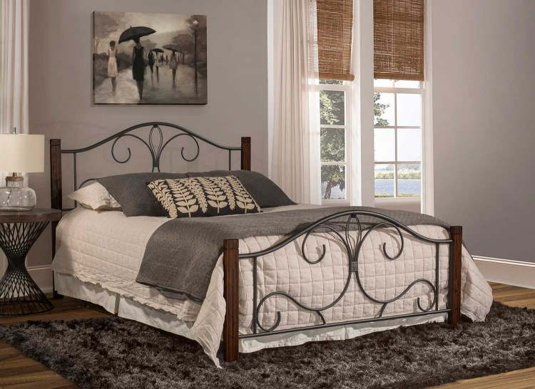 Destin Bed - Black/Brushed Cherry