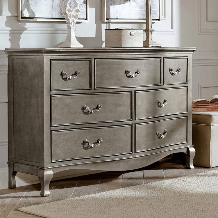 Kensington 7 Drawer Double Dresser - Antique Silver