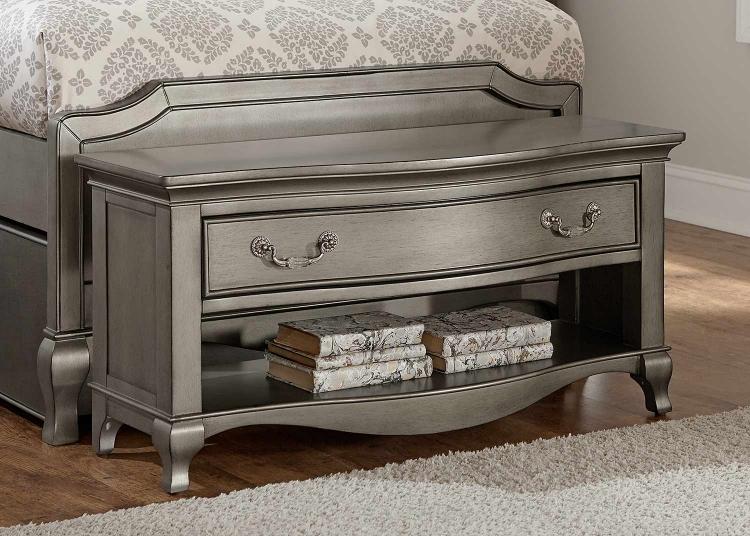 Kensington Dressing Bench - Antique Silver