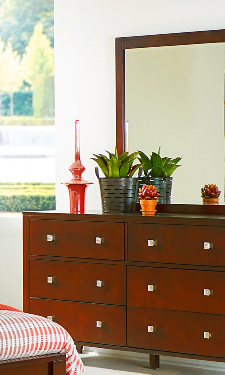 Pulse 6 Drawer Dresser And Mirror - Cherry