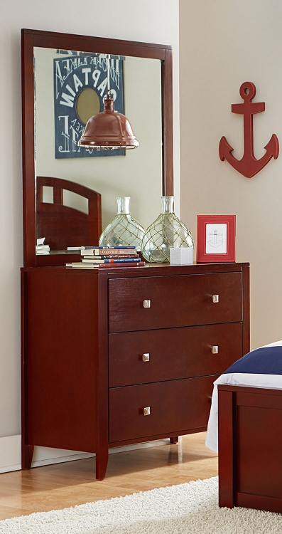 Pulse 3 Drawer Chest And Mirror - Cherry