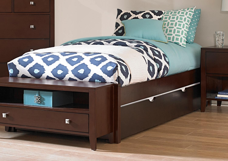 Pulse Platform Bed With Trundle - Chocolate