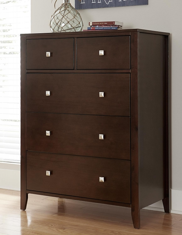 Pulse 5 Drawer Chest - Chocolate