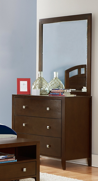 Pulse 3 Drawer Chest And Mirror - Chocolate