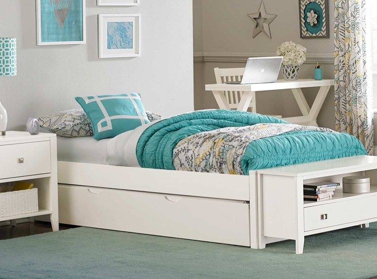 Pulse Platform Bed With Trundle - White