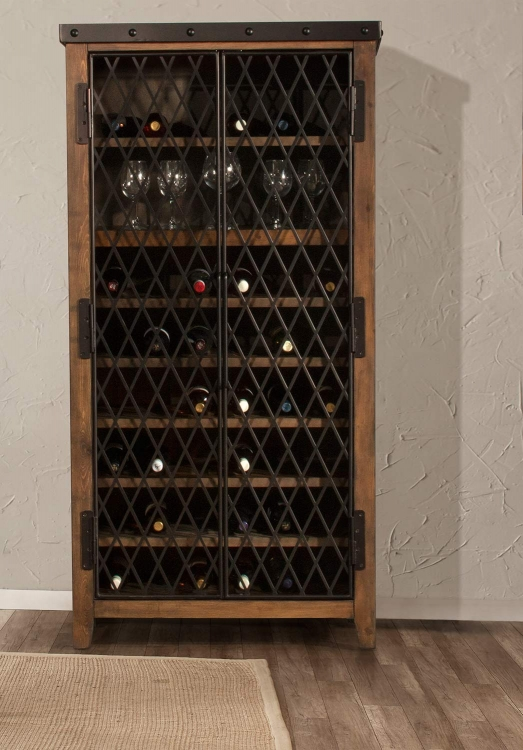 Jennings Tall Wine Cabinet - Walnut Wood/Brown Metal