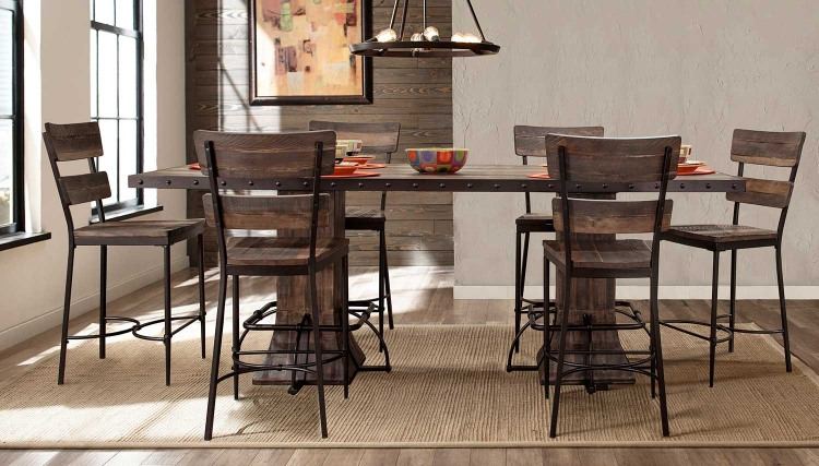 Jennings 7-PC Rectangle Counter Height Dining Set - Walnut Wood/Brown Metal