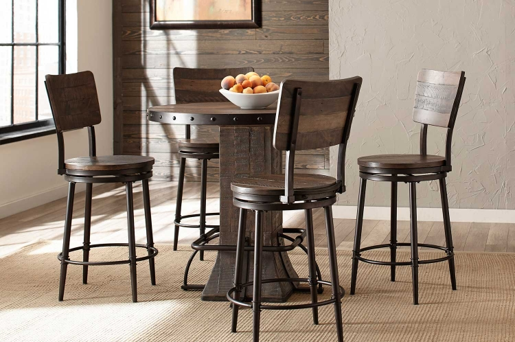 Jennings 5-PC Round Counter Height Dining Set - Walnut Wood/Brown Metal