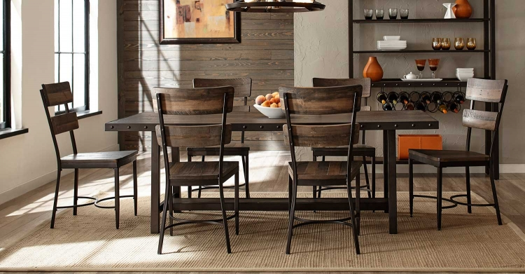 Jennings 7-Piece Dining Set - Walnut Wood/Brown Metal