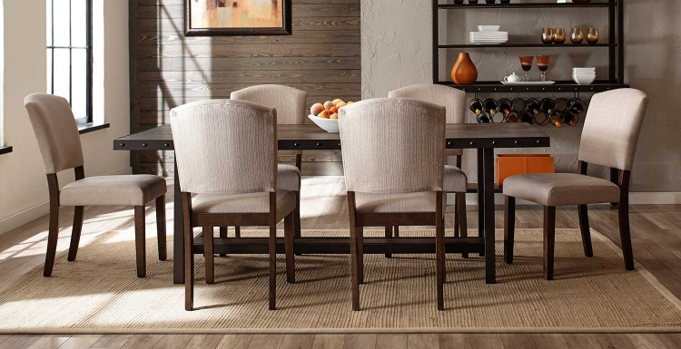 Jennings 7-Piece Dining Set with Emerson Chairs - Walnut Wood/Brown Metal