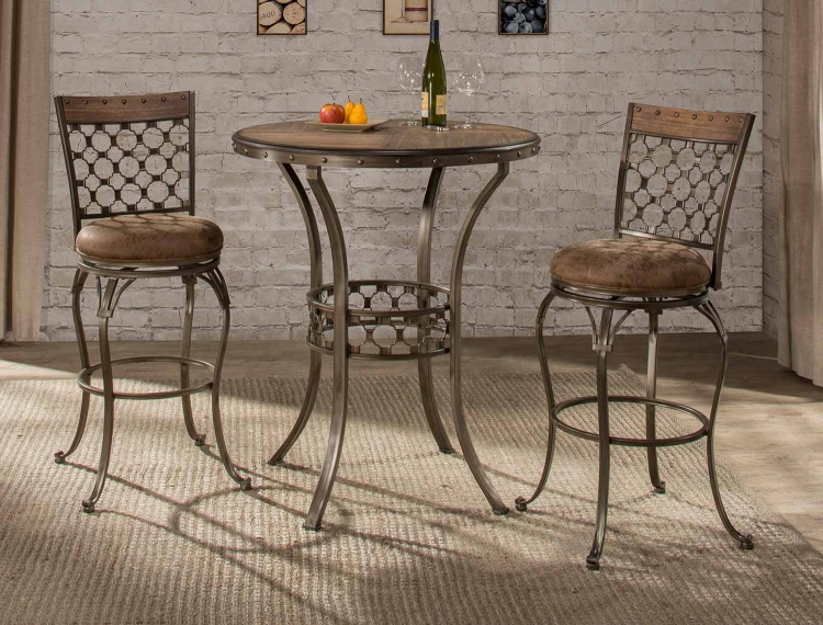 Lannis 3-Piece Bar Height Bistro Dining Set - Brown/Grey
