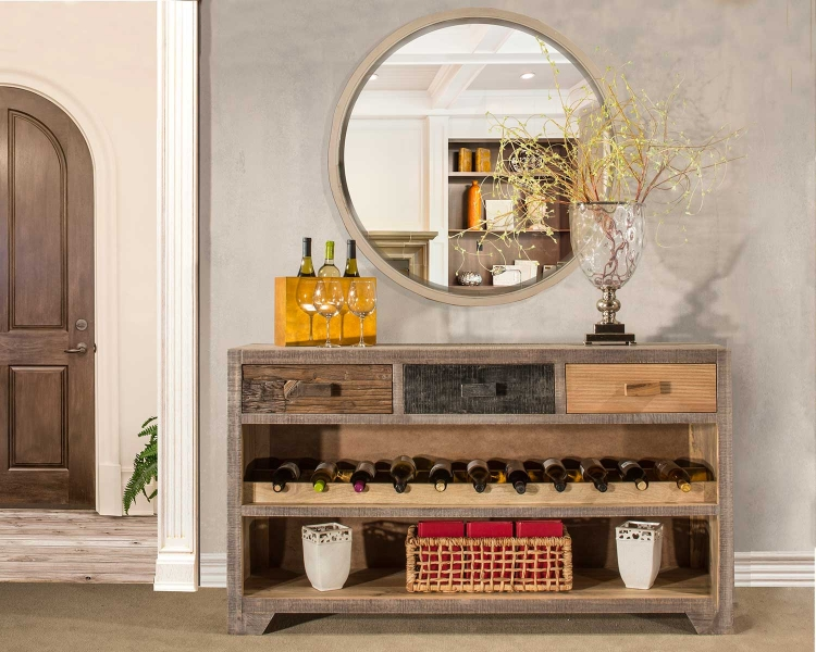 Bolero Console Table with Wine Rack - Sand Brushed Earth Tone