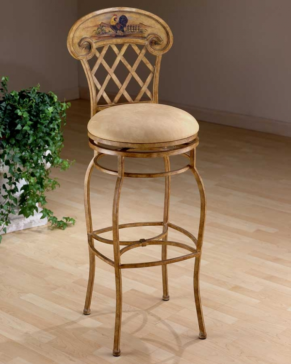 Rooster Metal Swivel Counter Stool