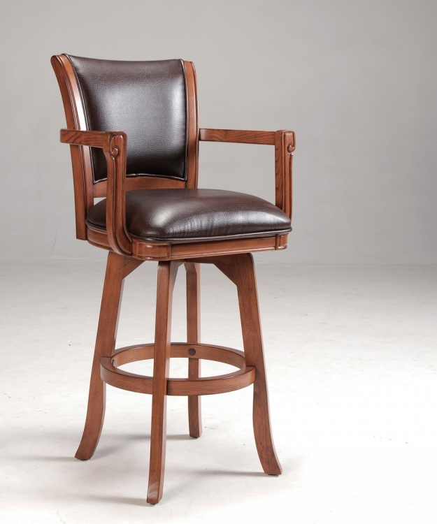 Parkview Counter Stool - Medium Brown Oak - Dark Brown