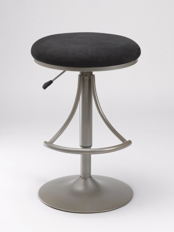 Venus Backless Swivel Bar Stool with Black Suede
